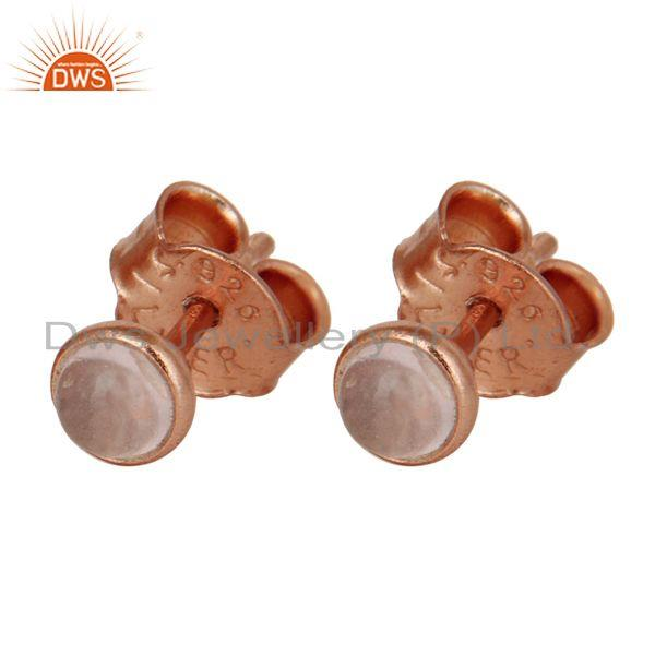 Exporter 18K Rose Gold Plated Sterling Silver 4mm Round Rose Chalcedony Stud Earrings