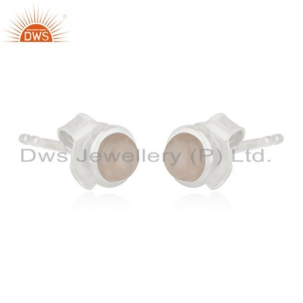 Exporter 925 Sterling Silver Rose Chalcedony Girls Stud Earrings
