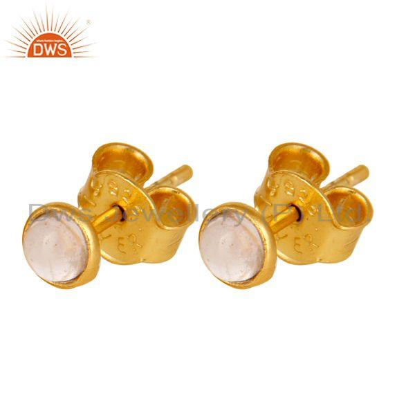 Exporter 18K Yellow Gold Plated Sterling Silver 4mm Round Rose Chalcedony Stud Earrings