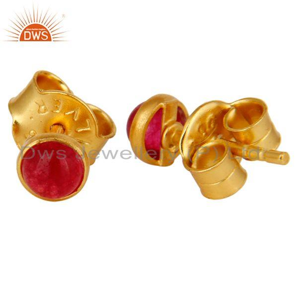 Exporter Dyed Pink Chalcedony Round Gemstone Stud Earrings In 14K Gold On Sterling Silver