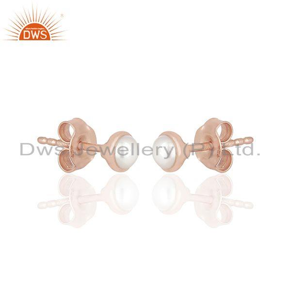 Exporter Rose Gold Plated 92.5 Silver Natural Pearl Stud Earring Jewelry