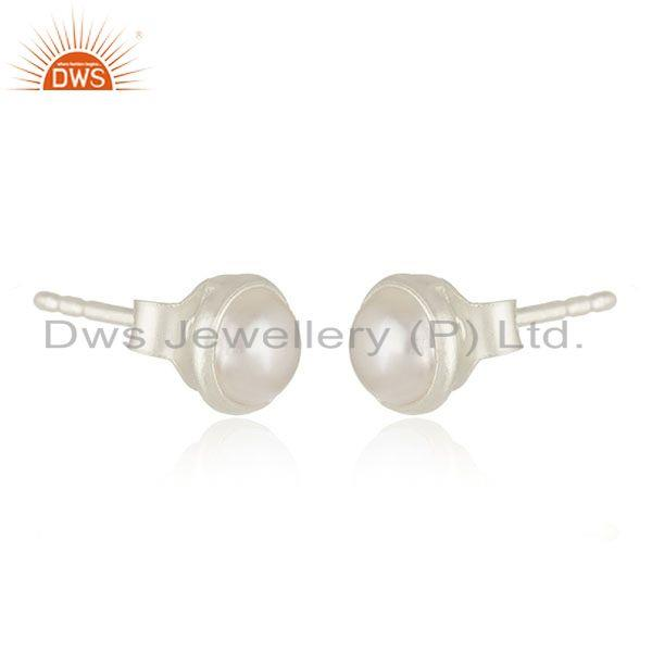 Exporter 92.5 Sterling Fine Silver Natural Pearl Round Stud Earrings Manufacturer India