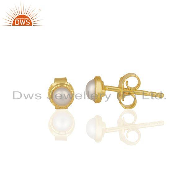 Exporter Natural Pearl Gold Plated 925 Silver Stud Earring Jewelry Manufacturer