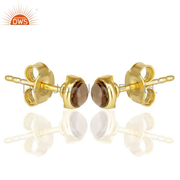Exporter Smoky Topaz Cabochon Tiny 4MM Round Stud 14 K Gold Plated Earring