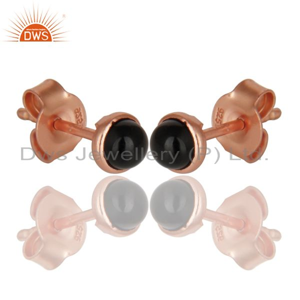 Exporter 18K Rose Gold Plated 925 Sterling Silver 4mm Round Black Onyx Studs Earrings