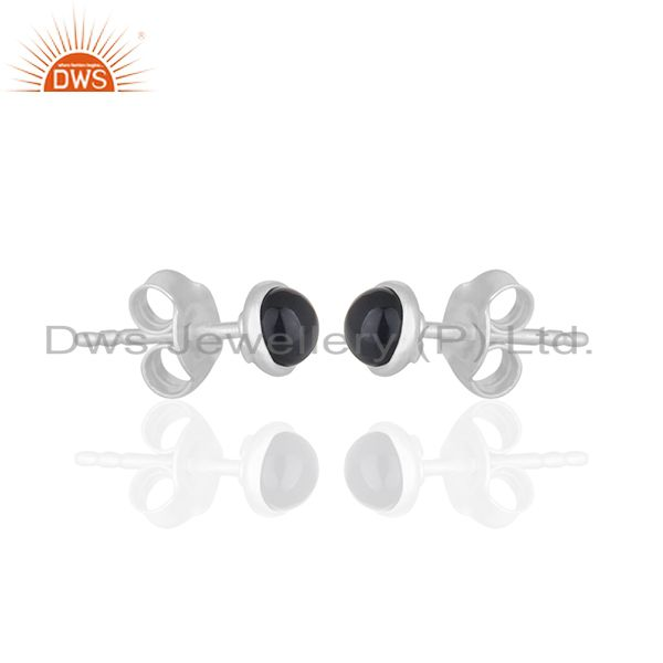 Exporter Black Onyx Gemstone Stud Earrings Wholesale Sterling Silver Jewelry