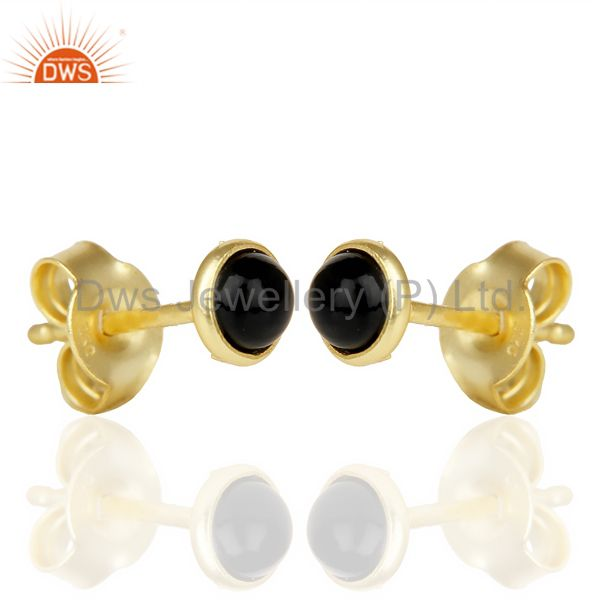 Exporter Black ONyx Cabochon Tiny 4MM Round Stud 14 K Gold Plated Earring