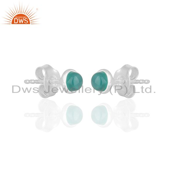 Exporter Green Onyx Gemstone 925 Silver Stud Earrings Jewelry Manufacturer