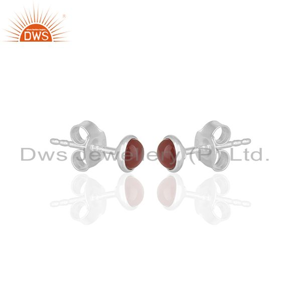 Exporter Small Onyx Gemstone Tiny Stud Earring Jewelry Manufacturer of India