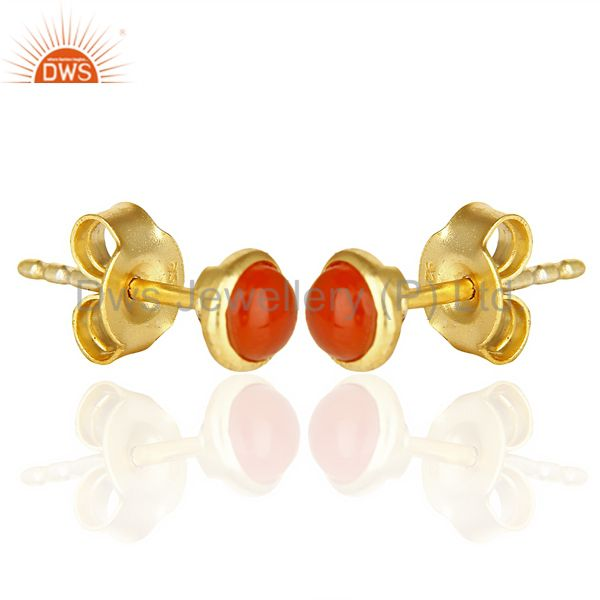 Exporter Red Onyx Cabochon Tiny 4MM Round Stud 14 K Gold Plated Earring