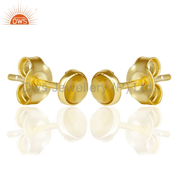 Exporter Yellow Chalcedony Cabochon Tiny 4MM Round Stud 14 K Gold Plated Earring