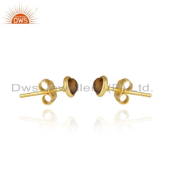 Exporter Tiger Eye Gemstone Gold Plated 925 Silver Round Stud Earring Wholesale