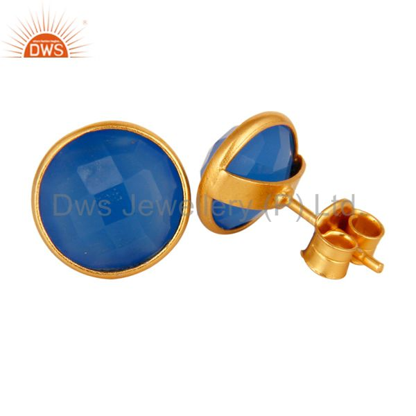 Exporter Dyed Aqua Blue Chalcedony Gemstone Stud Earrings In 18K Gold On Sterling Silver