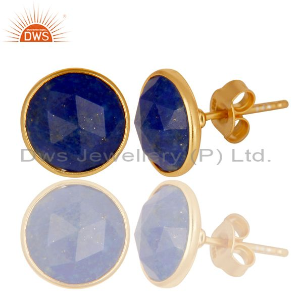 Exporter 14K Yellow Gold Plated 925 Sterling Silver Handmade Lapis Lazuli Studs Earrings
