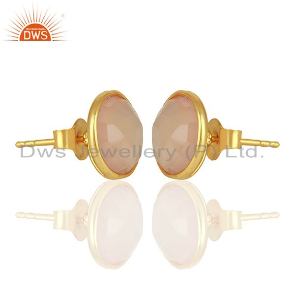 Exporter Rose Chalcedony Gemstone Gold Plated 925 Silver Stud Earrings Jewelry