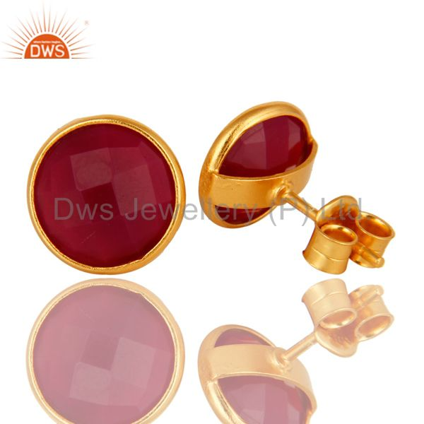 Exporter 18K Yellow Gold Plated Sterling Silver Dyed Pink Chalcedony Gemstone Stud Earrin