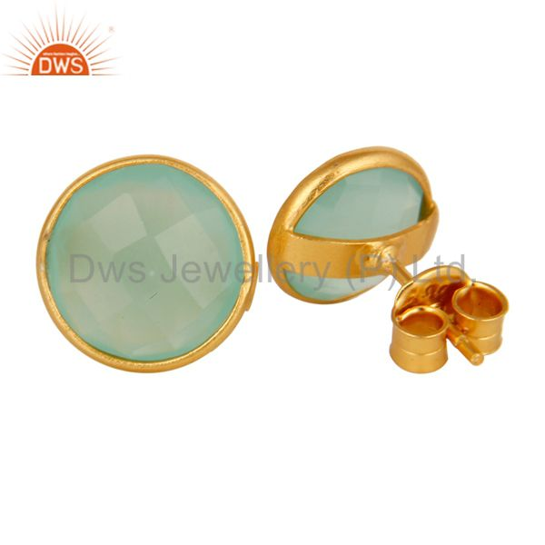 Exporter Dyed Green Chalcedony Faceted Gemstone Stud Earrings In 14K Gold On Silver