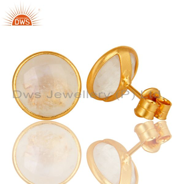 Exporter 18K Yellow Gold Plated Sterling Silver Dyed Rainbow Moonstone Stud Earrings
