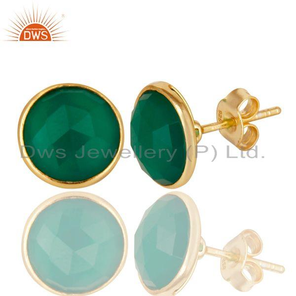 Exporter 14K Yellow Gold Plated 925 Sterling Silver Green Onyx Gemstone Studs Earrings