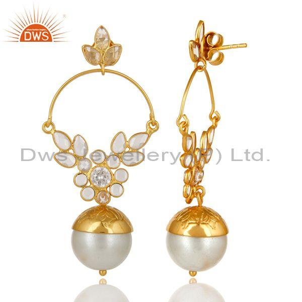 Exporter 14K Gold Plated Sterling Silver Pearl And CZ Ethnic Designer Dangle Earrings