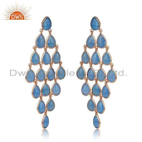 Designer long blue chalcedony chandelier in yellow gold on silver