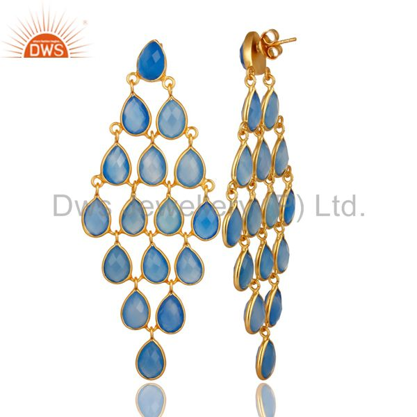 Exporter 18K Yellow Gold Over Sterling Silver Blue Chalcedony Chandelier Earrings