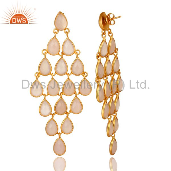 Exporter Faceted Rose Chalcedony Chandelier Earrings In 14K Gold Over Sterling Silver