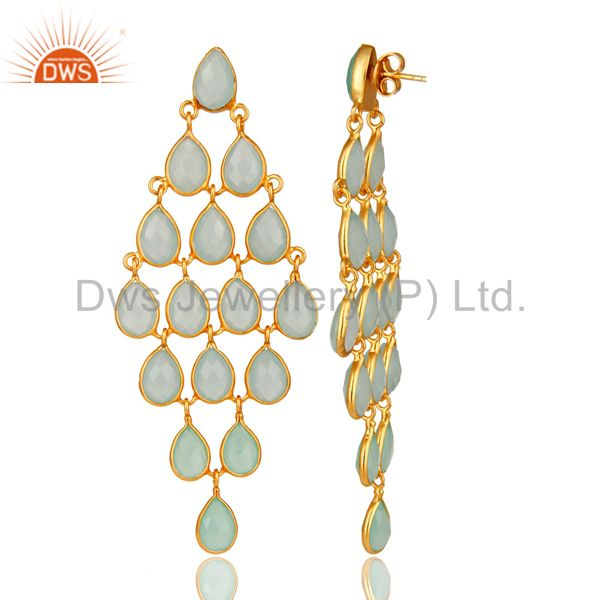 Exporter Dyed Aqua Chalcedony Chandelier Earrings In 18K Gold Over Sterling Silver