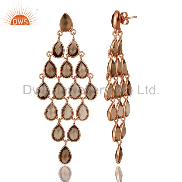 Exporter 18K Rose Gold Over Sterling Silver Smoky Quartz Gemstone Chandelier Earrings