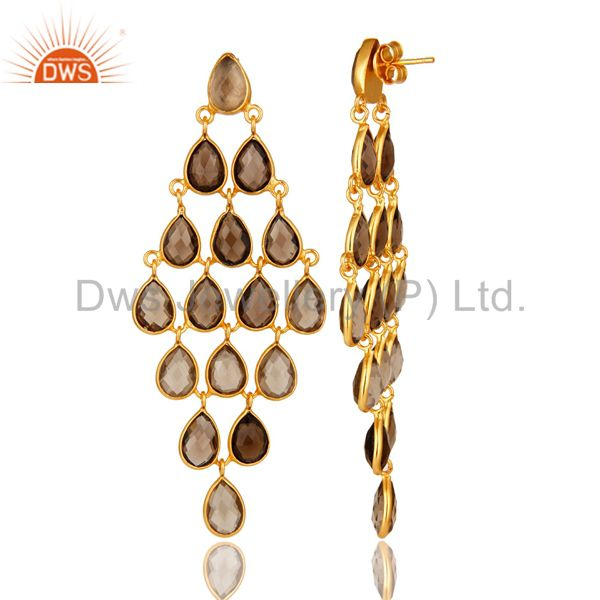 Exporter Smoky Quartz Gemstone Sterling Silver Chandelier Earrings With Gold Plated