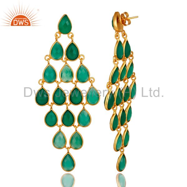 Exporter 18K Yellow Gold Over Sterling Silver Green Onyx Gemstone Chandelier Earrings