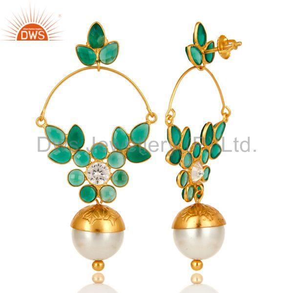 Exporter 14K Gold Plated Sterling Silver Pearl And Green Onyx Designer Earrings With CZ