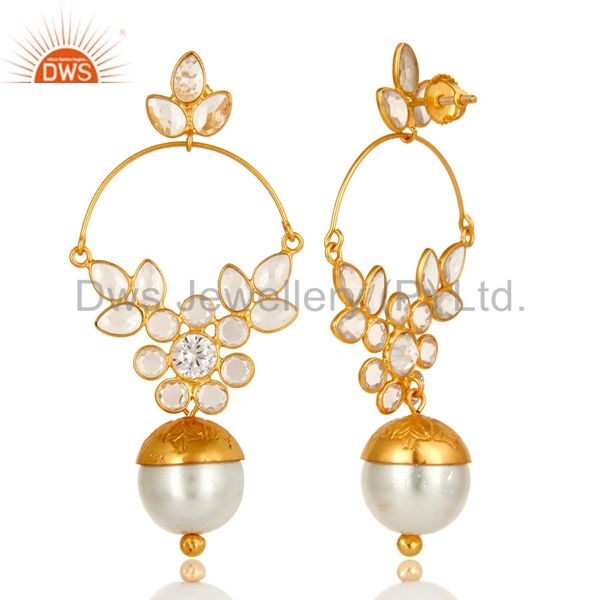 Exporter 14K Yellow Gold Plated Sterling Silver Pearl And Cubic Zirconia Designer Earring