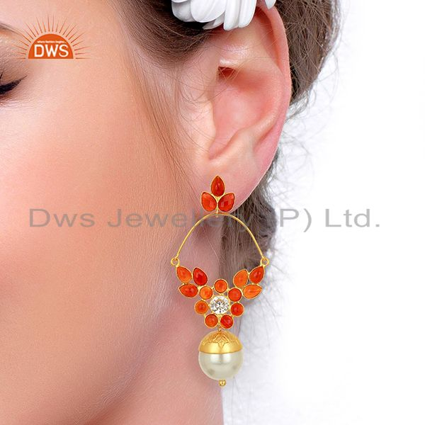Exporter 14K Yellow Gold Plated Sterling Silver Pearl & Red Onyx Dangle Earrings With CZ