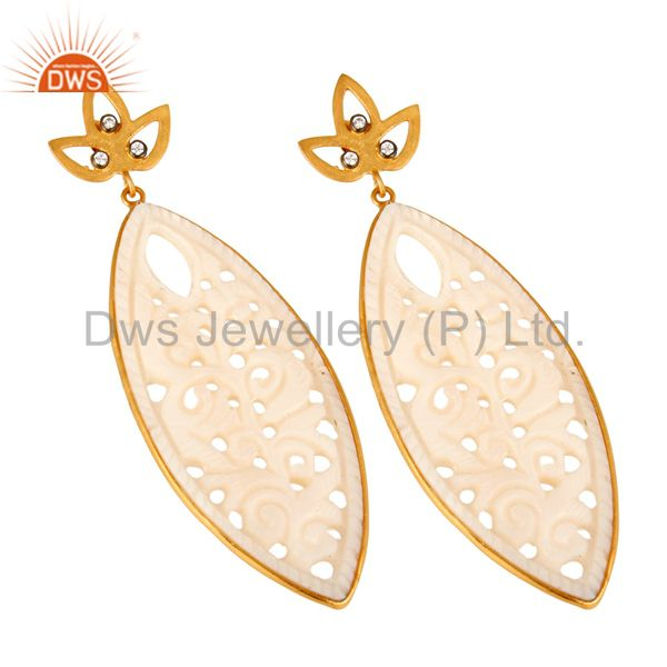Exporter 14K Yellow Gold Plated Sterling Silver Carved Mother Of Pearl Dangle Earrings