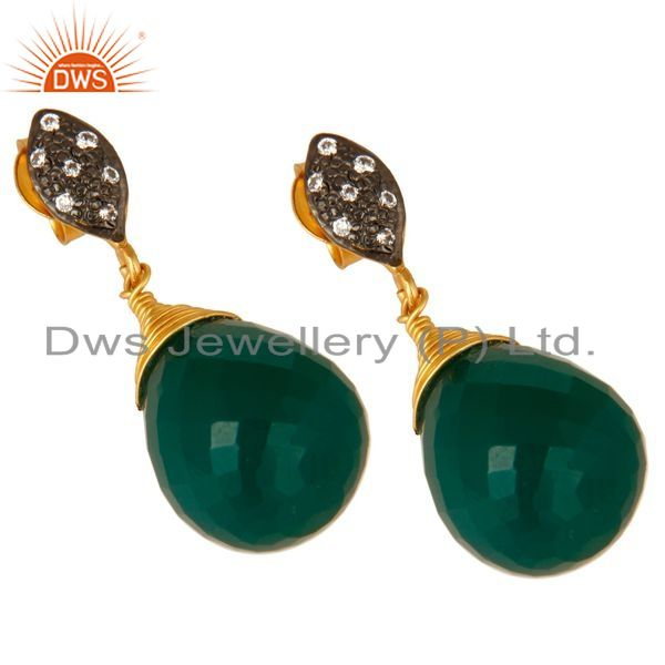 Exporter 14K Yellow Gold Plated Sterling Silver Green Onyx Drop Earrings With CZ