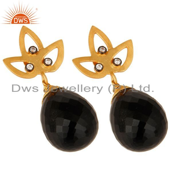 Exporter 24K Yellow Gold Plated Sterling Silver Black Onyx Gemstone Drop Earrings With CZ