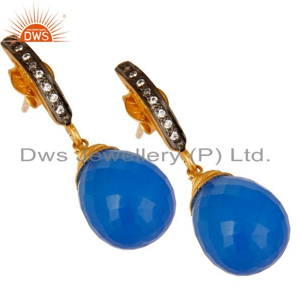 Exporter 14K Yellow Gold Plated Sterling Silver Blue Chalcedony Drop Earrings With CZ