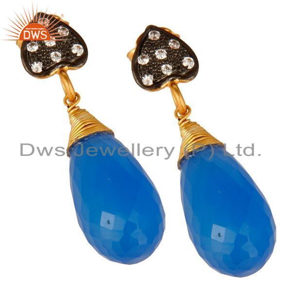 Exporter 18K Yellow Gold Plated Sterling Silver Blue Chalcedony Gemstone Drop Earrings