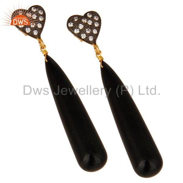 Exporter 14K Yellow Gold Plated Sterling Silver CZ & Black Onyx Smooth Teardrop Earrings