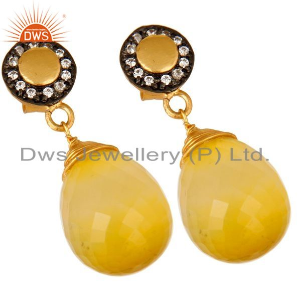 Exporter 14K Gold Plated Sterling Silver Faceted Yellow Moonstone Drop Earrings With CZ