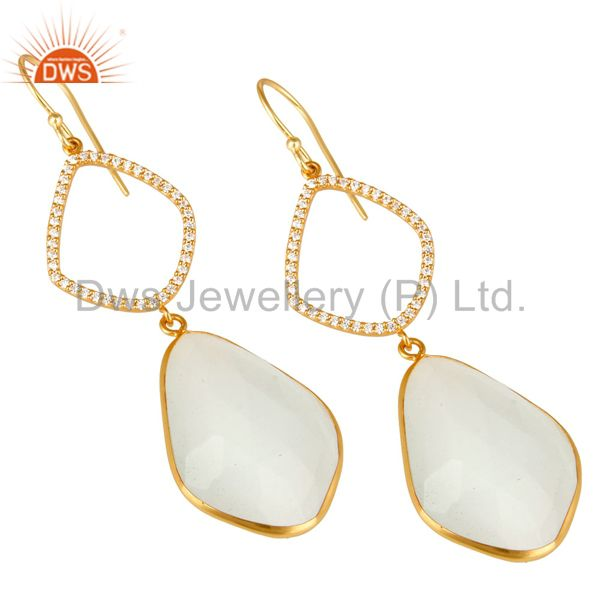 Exporter 18K Gold Plated Sterling Silver White Moonstone Bezel Set Dangle Earring With CZ