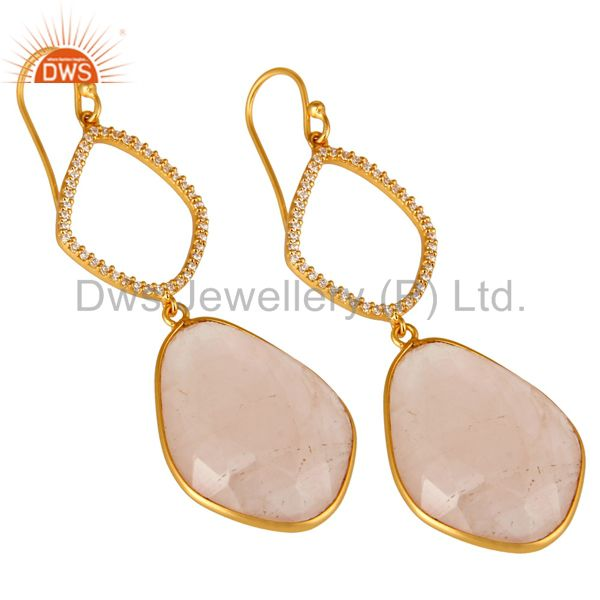 Exporter 18K Yellow Gold Plated Sterling Silver Rose Quartz And CZ Dangle Earrings