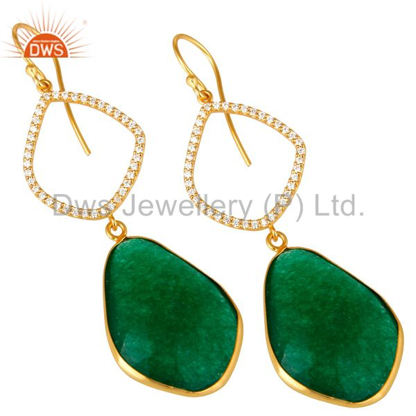 Exporter 18K Yellow Gold Plated Sterling Silver Green Onyx Bezel Dangle Earrings With CZ