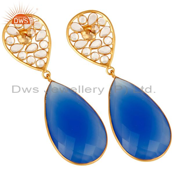 Exporter 18K Yellow Gold Plated Sterling Silver Blue Chalcedony Bezel Set Dangle Earrings