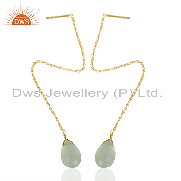 Exporter Auqa Chalcedony Threaded Earring 14K Gold Plated 92.5 Sterling Silver Earring