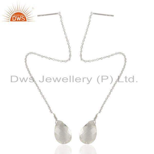 Exporter Crystal Quartz Simple 925 Sterling Silver Chain Dangle Earring Manufacturer