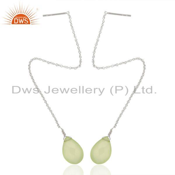 Exporter Prehnite Chalcedony Gemstone 925 Silver Chain Dangle Earring Manufacturers