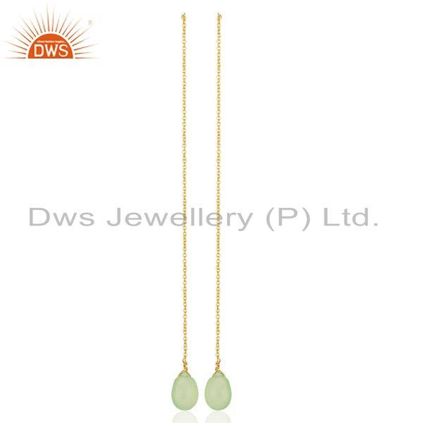 Exporter Prehnite Chalcedony Long Chain Thread Earring Gold  Plated  Silver Jewelry