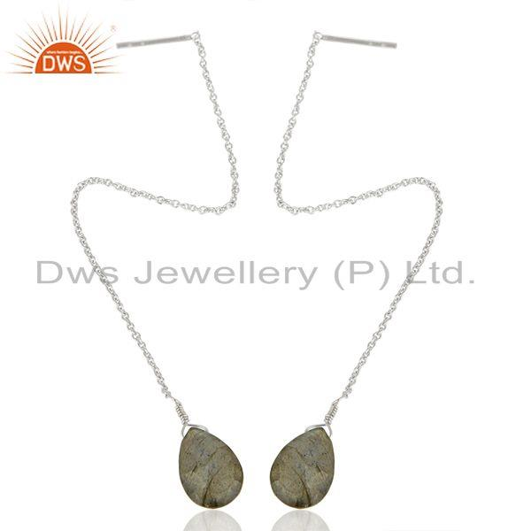 Exporter Labradorite Gemstone 925 Sterling Silver Chain Dangle Earrings Manufacturers